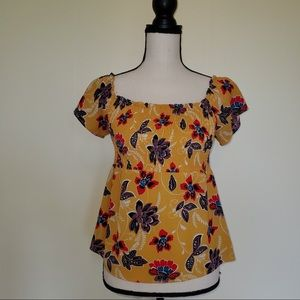 Boho baby doll style floral festival top
